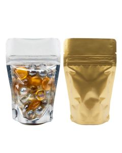 1 oz gold backed stand up pouch