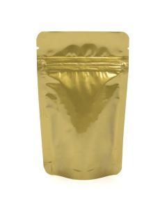 """3 1/8"""" x 2"""" x 5 1/8"""" Gold Metallized Zipper Pouch Bags"""