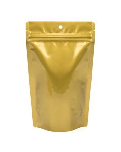 gold metallized hanging zipper pouch | 5 1/8 x 3 1/8 x 8 1/8