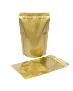 Stand up zipper pouch in gold