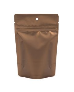 "4"" x 2 3/8"" x 6"" (Outer Dims) Bronze Metallized Stand Up Zipper Pouch with Hang Hole (100 Pieces) [ZBGM2BZH]"