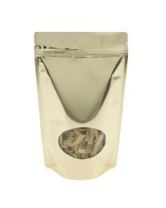 Food safe metallized stand up pouch in shimmer gold