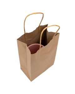 "5.5"" x 3.1"" x 8.46"" Kraft Paper Merchandise Handle Bags (50 Pieces) [GMB2]"