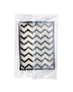 "26"" x 28"" clear zipper bag, folded over"