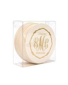 Monogram Coasters inside Clear Box