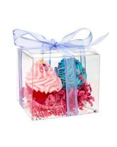 Mini cupcakes in clear plastic box