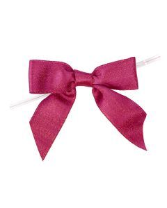 """3 1/2"""" Metallic Hot Pink Pre-tied Bow (25 Pieces) [MBOWP]"""