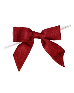 """3 1/2"""" Metallic Scarlet Pre-tied Bow (25 Pieces) [MBOWSC]"""