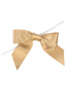 """3 1/2"""" Metallic Taupe Pre-tied Bow (25 Pieces) [MBOWT]"""