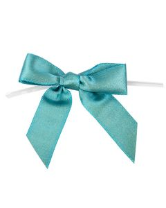 """3 1/2"""" Metallic Teal Pre-tied Bow (25 Pieces) [MBOWTL]"""