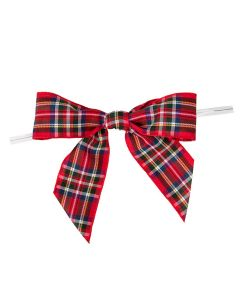 """3 1/2"""" Printed Pre-tied Bow, Red Plaid (25 Pieces) [PBOWR]"""