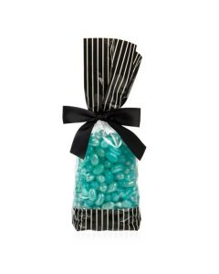 Jellybeans packaged in Side Gusset Cello Bag with Black Ends and Creme Stripes
