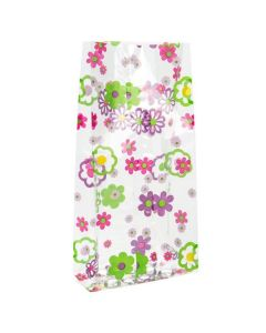 """4"""" x 2 1/2"""" x 9 1/2"""" Flower Grove Printed Gusset Bags, 1.2 Mil (100 Pieces) [G4FG]"""