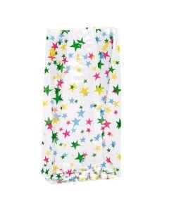 "4"" x 2 1/2"" x 9 1/2"" Multi colored stars print bag"