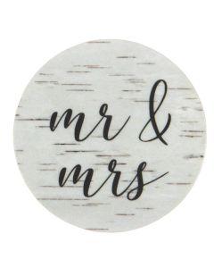 "1 1/2"" Round Printed Labels, Birch Wood Mr. & Mrs. (Sheet of 25) [LS1HBMM]"