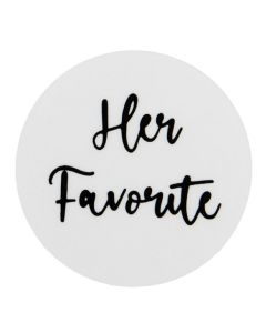 """1 1/2"""" Round Printed Labels, Her Favorite Silver Hot Stamp (Sheet of 25) [LS1HHER]"""