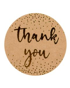 """1 1/2"""" Round Printed Labels, Kraft Thank You Gold w/ Confetti Hot Stamp (Sheet of 25) [LS1HKTY]"""