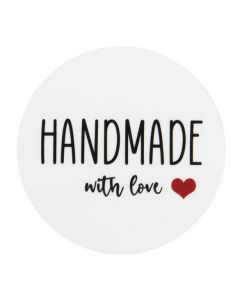 """1 1/2"""" Round Printed Labels, Handmade with Love Heart (Sheet of 25) [LS1HHMLH]"""