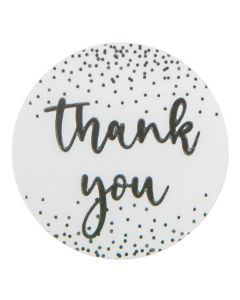 """1 1/2"""" Round Printed Labels, Thank You Silver w/ Confetti Hot Stamp (Sheet of 25) [LS1HSTY]"""
