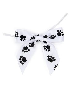 """3 1/2"""" Printed Pre-tied Bow, Paw Prints (25 Pieces) [PBOWP]"""