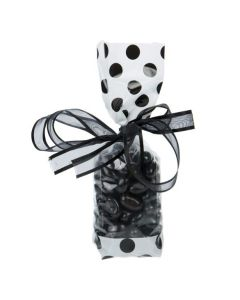 Candy packaged in Cello Bag with White Bands and Black Dots