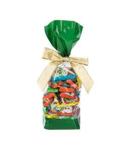 Candy inside Green Banded Cello Bag