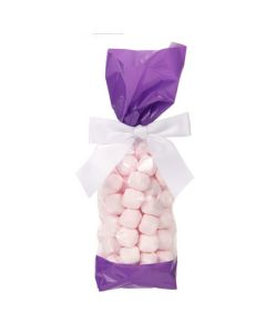 Candy inside Side Gusset Cello Bag with Purple Ends