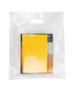 """15"""" x 18"""" clear handle bag made with 20% recycled material"""
