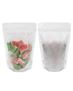 Front and rear view of stand up rice paper pouch