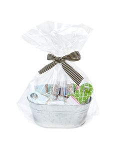 clear gift basket bag with round bottom | 18 x 24