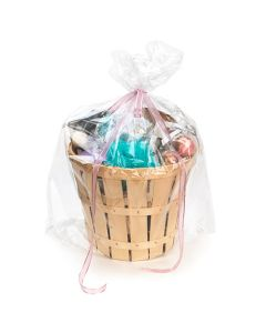 "assembled gift basket in clear round bottom bag | 24"" x 30"""