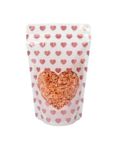 """5 1/8"""" x 3 1/8"""" x 8 1/8"""" (Outer Dimensions) White Stand Up Zipper Pouch with Rose Gold Mini Hearts (25 Pieces) [ZBGSW3MH]"""