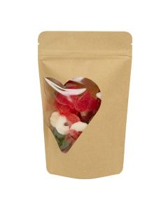 """5 1/8"""" x 3 1/8"""" x 8 1/8"""" (Outer Dimensions) Kraft Heart Shaped Window Stand Up Zipper Pouch (25 Pieces) [ZBGW3KHT]"""