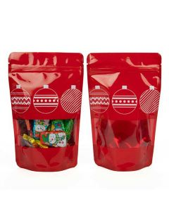 4 oz red stand up pouch w/ ornaments