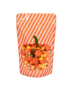 "5 1/8"" x 3 1/8"" x 8 1/8"" (Outer Dims) Pumpkin Stand Up Zipper Pouch (25 Pieces) [ZBGW3P]"