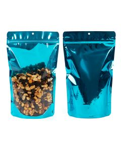"""6 3/4"""" x 3 1/2"""" x 11 1/4"""" (Outer Dims) Aquamarine Backed Stand Up Pouch w/ Hang Hole (100 Pieces) [ZBGB4AM]"""