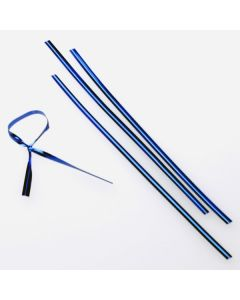 "4"" x 5/32"" Blue Metallic Plastic Twist Tie (1000 pack) [TT4MB]"