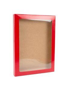 "5 3/8"" x 5/8"" x 7 3/8"" Gloss red paper box"