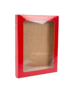 """4 1/2"""" x 5/8"""" x 5 7/8"""" Red paper box w/ window"""