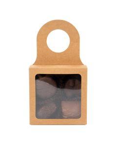 "kraft wine bottle box with chocolates  3 5/8"" x 1 1/8"" x 3 5/8"""