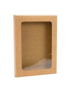 "3 3/4"" x 5/8"" x 5 3/16"" Kraft paper box with window"