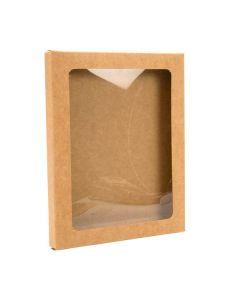 """4 1/2"""" x 1/2"""" x 5 7/8"""" Kraft paper box with window"""