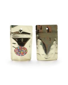 front and rear view of shiny metallized gold barrier pouch