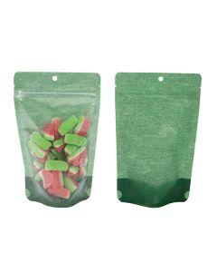 Front and rear view harvest green backed rice paper pouch