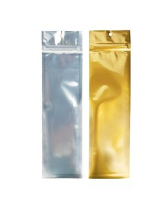 """2 1/2"""" x 9"""" Gold Backed Metallized Hanging Zipper Barrier Bags (100 Pieces) [HZBB1CG]"""