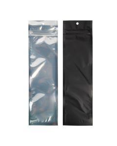 "2 1/2"" x 9"" Matte Black Backed Metallized Hanging Zipper Barrier Bags (100 Pieces) [HZBB1CMB]"