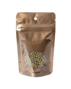 food safe hanging bronze stand up pouch with oval window | 1 oz