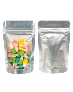 food safe silver backed stand up pouch   1 oz