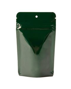 2 oz hunter green metallized stand up pouch with hang hole