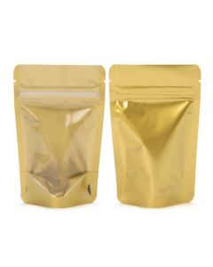 Front and rear view of gold zipper pouch